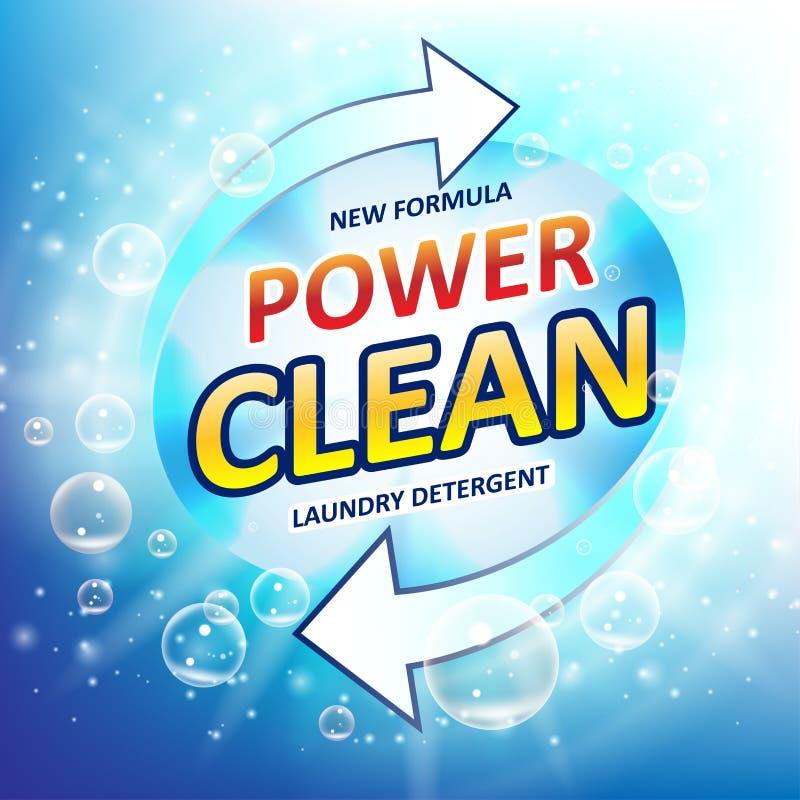 Anúncios do pacote do detergente para a roupa Projeto do limpador da cuba do toalete ou do banheiro Empacotamento do detergente p ilustração stock