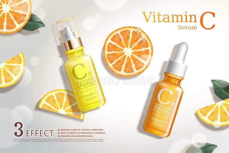 Anúncios do soro da vitamina C ilustração royalty free