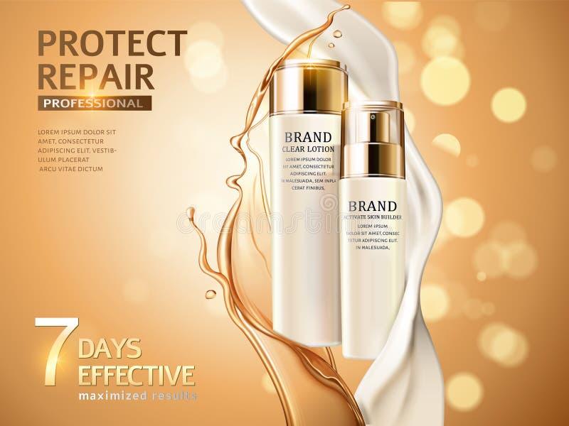 Anúncios dos cuidados com a pele ilustração stock