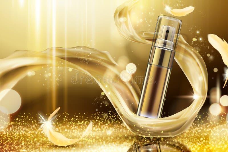 Anúncios dourados do pulverizador do skincare ilustração stock