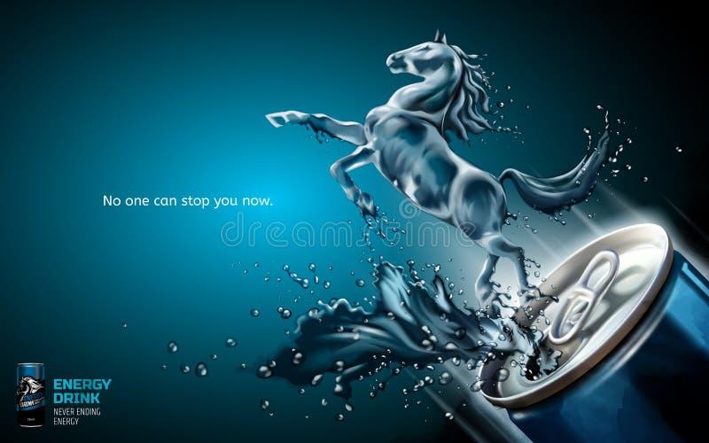 Anúncios elegantes da bebida da energia ilustração stock