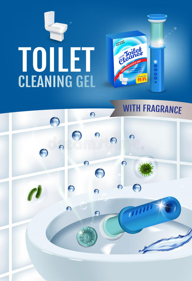 Anúncios frescos do disco do gel do líquido de limpeza do toalete da fragrância Vector a ilustração realística com os discos do d ilustração stock