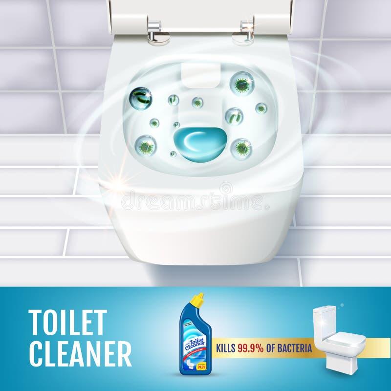 Anúncios frescos do gel do líquido de limpeza do toalete da fragrância Vector a ilustração realística com vista superior da bacia ilustração stock