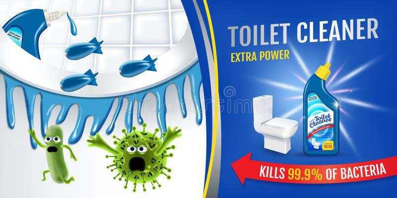 Anúncios frescos do líquido de limpeza do toalete da fragrância Germes mais limpos da matança dos prumos dentro da bacia de toale ilustração do vetor