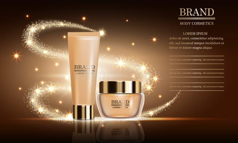 Anúncios luxuosos da beleza dos cosméticos do creme de corpo superior do grupo para cuidados com a pele Modelo para o cartaz do p ilustração do vetor