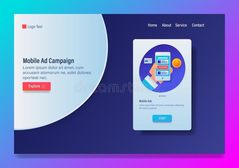 Anúncios móveis, campanha de publicidade, conceito de mercado digital do app, com ícones e molde do vetor da bandeira da Web do t ilustração stock