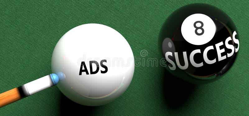 Anúncios trazem sucesso - ilustrados como 'Ads' em uma bola de pool, para simbolizar que os Anúncios podem iniciar sucesso, ilust ilustração stock