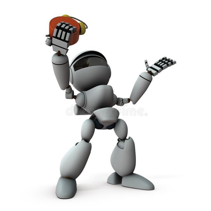 Free An Artificial Intelligence Robot That Is In A Hurry When The Time Runs Out. Stock Images - 213782984