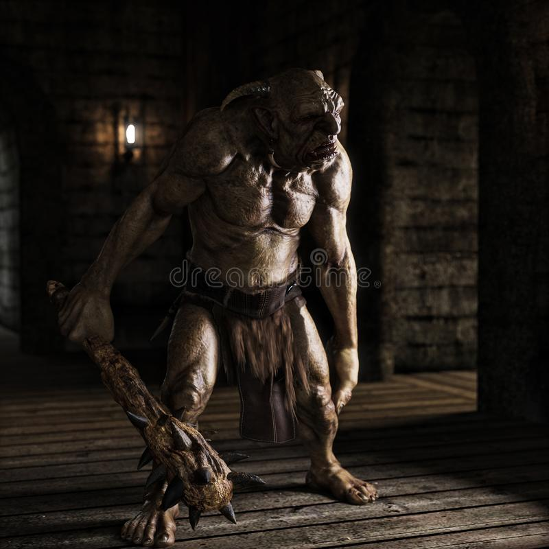 Free An Evil Troll With Spiked Club Wandering The Labyrinth Halls Looking For Prey . Royalty Free Stock Photos - 136038618