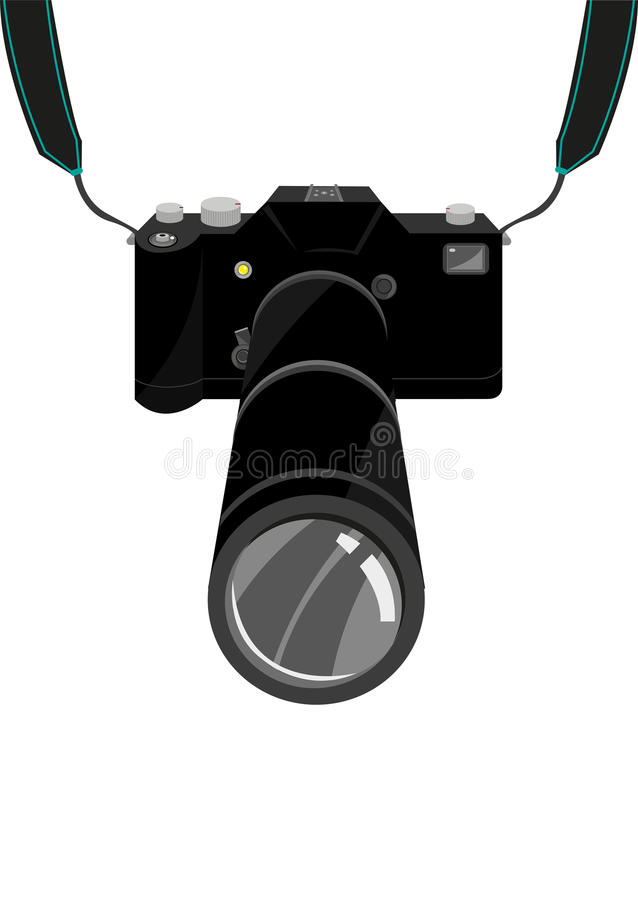 Free An Expensive SLR Film Or Digital Single Lens Reflex DSLR Camera With Strap And Zoom Lens. Editable Clip Art. Royalty Free Stock Photo - 66215565