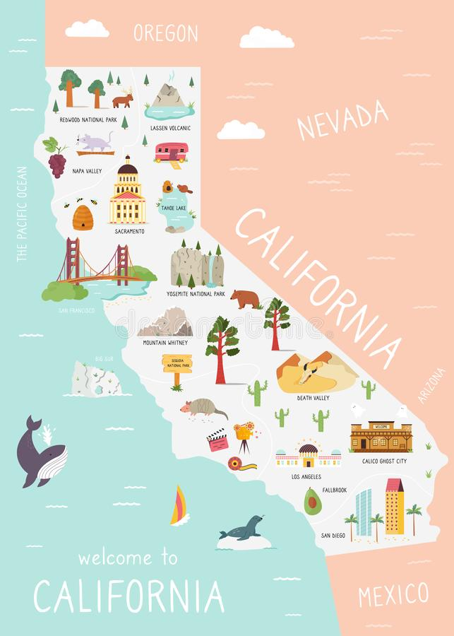 Free An Illustrated Map Of California With Destinations Stock Image - 156368651