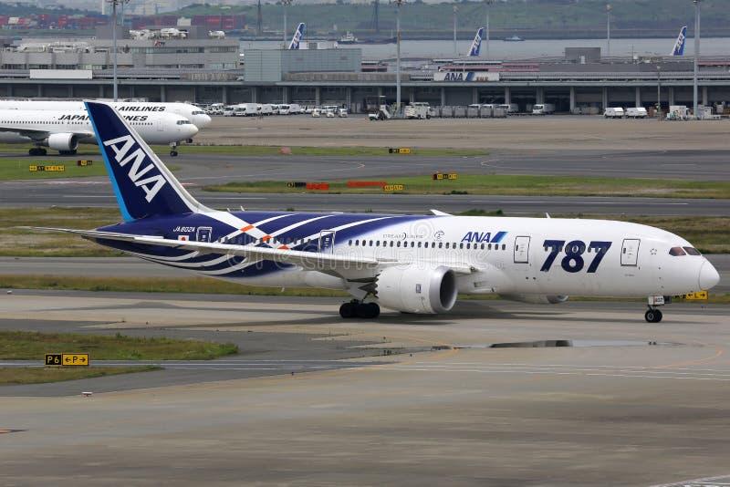 ANA All Nippon Airways Boeing 787 Dreamliner Tokyo Haneda Airpor fotografia stock