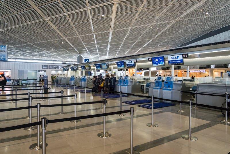 ANA, All Nippon Airways, comptoir d'enregistrement à l'aéroport de Narita, Japon image libre de droits
