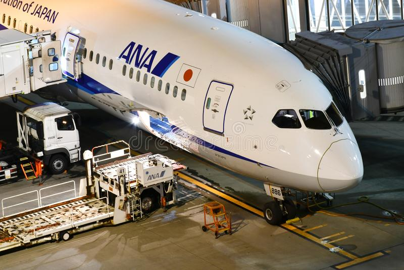 ANA All Nippon Airways Jet durante a preparação do voo em Haneda A imagem de stock