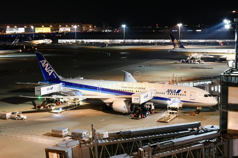 ANA All Nippon Airways Jet During Flight Preparation at Haneda A. An ANA Jet in the midst of flight preparation at Haneda Airport International Terminal. All royalty free stock images