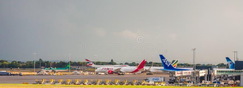 ANA and Avianca at Heathrow royalty free stock photo