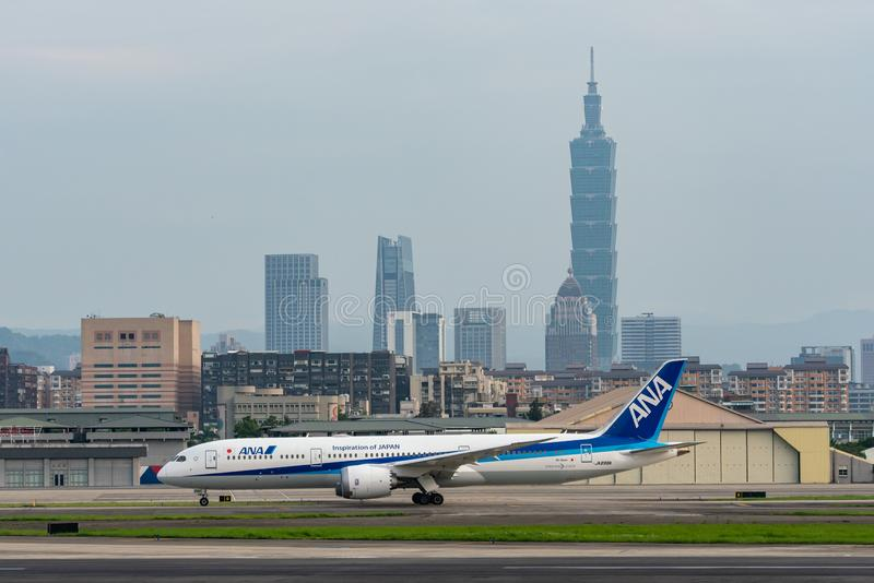 ANA Boeing 787-9 Dreamliner taxing royalty free stock photography