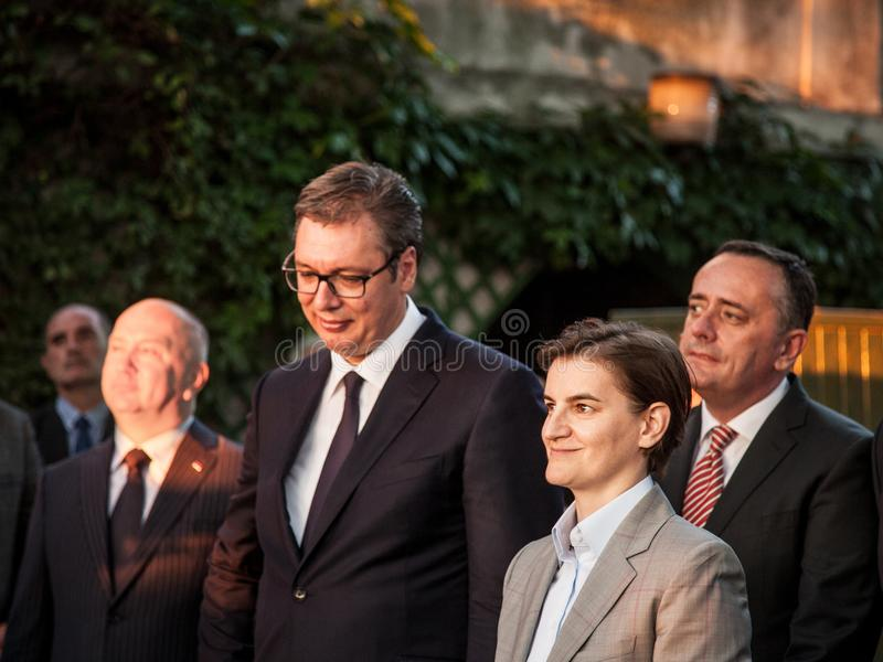 Ana Brnabic, Serbian Prime Minister, smiling during a speech at the French embassy with Aleksandar Vucic, President of Serbia. Picture of Aleksandar Vucic and royalty free stock photos