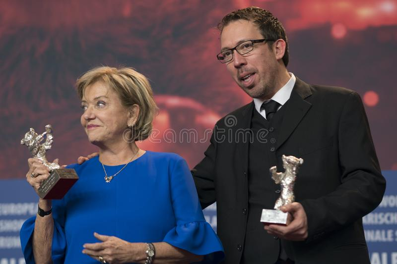 Ana Brun of Paraguay and Marcelo Martinessi, Silver Bear at Berlinale 2018. Berlin, Germany - February 24, 2018: Ana Brun of Paraguay, Silver Bear prize for best stock photography