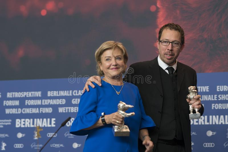Ana Brun of Paraguay and Marcelo Martinessi, Silver Bear at Berlinale 2018. Berlin, Germany - February 24, 2018: Ana Brun of Paraguay, Silver Bear prize for best royalty free stock image