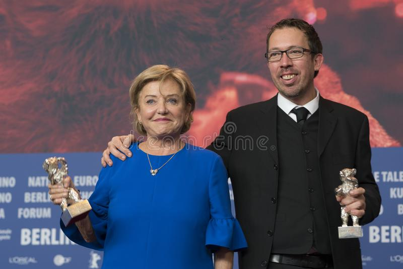 Ana Brun of Paraguay and Marcelo Martinessi, Silver Bear at Berlinale 2018. Berlin, Germany - February 24, 2018: Ana Brun of Paraguay, Silver Bear prize for best stock image