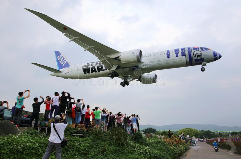 ANA flight with Star Wars design royalty free stock photo