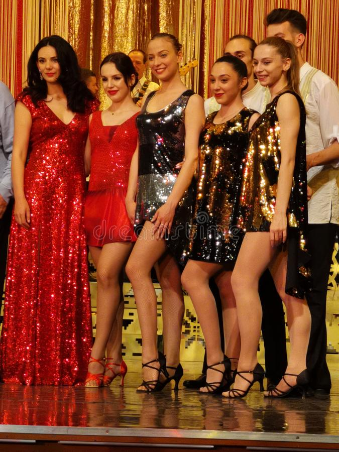 Ana Maria Donosa on stage with ballerinas at Constantin Tanase Magazine Theater. Ana Maria Donosa is the actress who took the place of the regretted artist Stela royalty free stock image