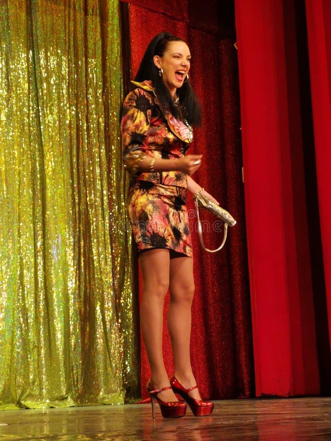 Ana Maria Donosa on stage at Constantin Tanase Magazine Theater. Bucharest, Romania stock images