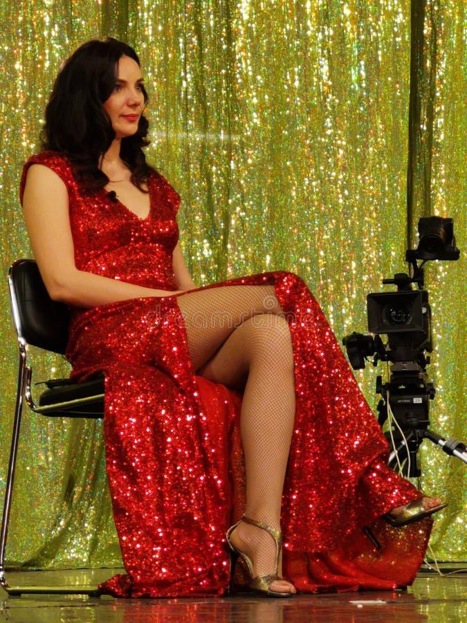Ana Maria Donosa on stage at Constantin Tanase Magazine Theater. Bucharest, Romania royalty free stock image