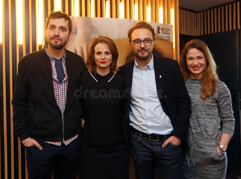 `Ana, Mon Amour` - Film Premiere in Bucharest. Calin Peter Netzer CR producer, director and screenwriter of `Ana, Mon Amour`, actress Diana Cavallioti CL , and stock photography
