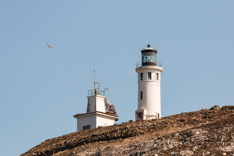 Anacapa Island Lighhouse and Adjacent Building. Anacapa lighthouse and adjacent building on Anacapa Island, a volcanic island off the coast of Southern royalty free stock photo