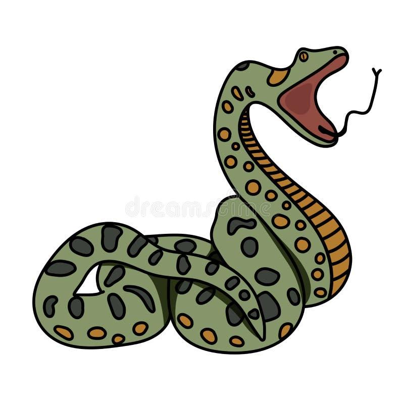 Anaconda зеленой змейки подготавливает атаковать плоско смогите конструктор каждый вектор оригиналов предмета evgeniy графиков не иллюстрация штока