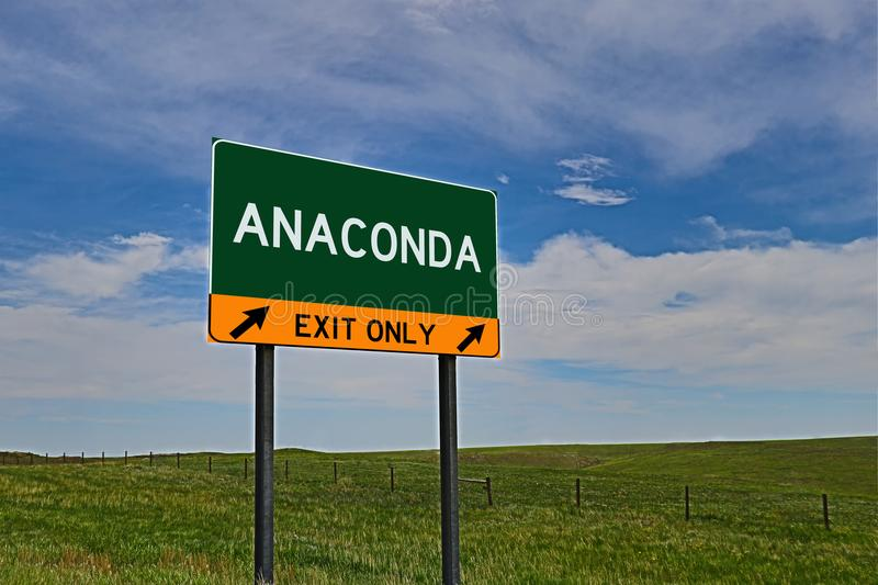US Highway Exit Sign for Anaconda. Anaconda composite Image `EXIT ONLY` US Highway / Interstate / Motorway Sign royalty free stock image