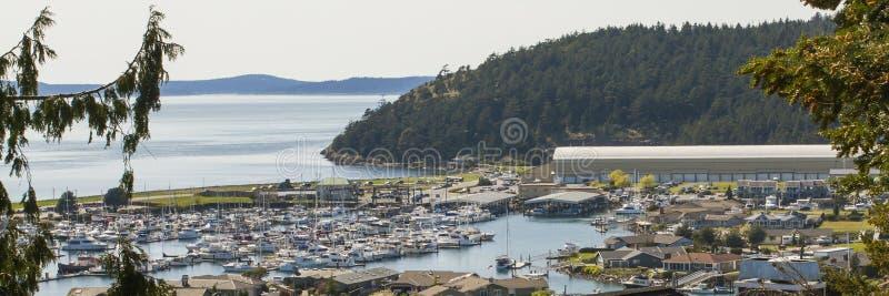 Anacortes Marina Puget Sound och Sanen Juan Islands arkivbild