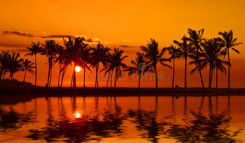 Anaehoomalu Bay Sunset on Big Island Hawaii stock images