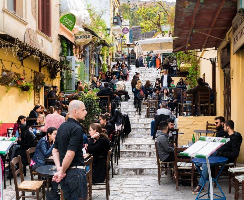 Anafiotika, Plaka, Atenas, em março de 2016 fotos de stock royalty free