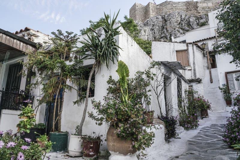Anafiotika w starym miasteczku Ateny w Grecja obrazy stock