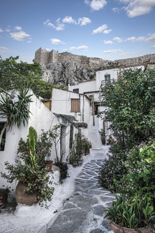 Anafiotika w starym miasteczku Ateny w Grecja obraz stock