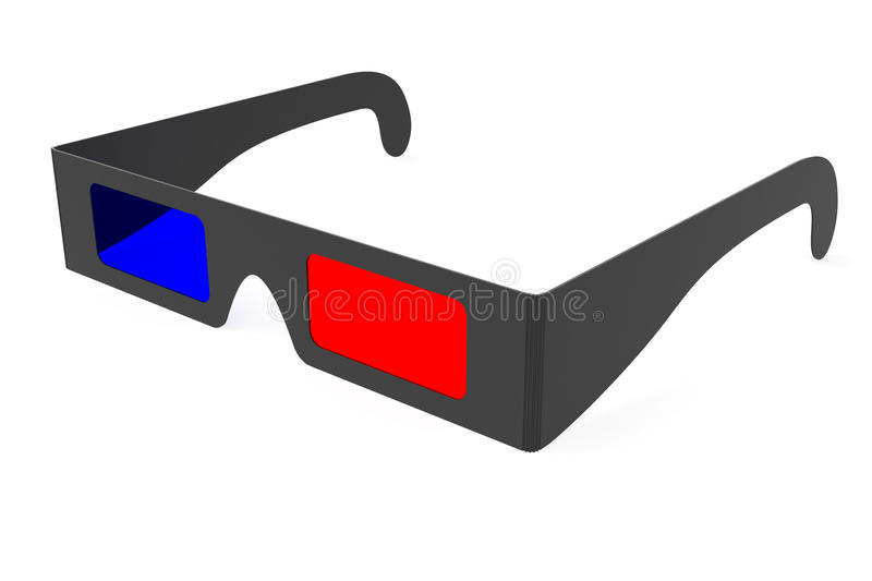 Anaglyph 3D glasses isolated on white. Background. High resolution 3D image royalty free illustration