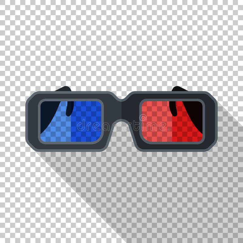 Anaglyph 3D glasses icon in flat style on transparent background. Anaglyph 3D glasses icon in flat style with long shadow on transparent background royalty free illustration