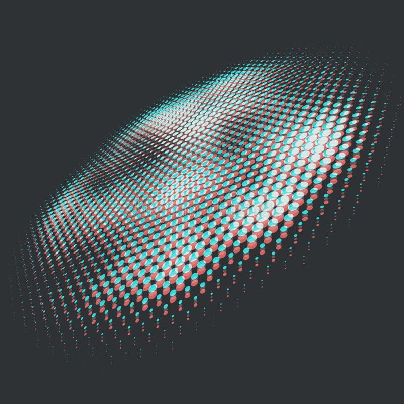 Anaglyph 3D Halftone Design Element. Vector Illustration vector illustration