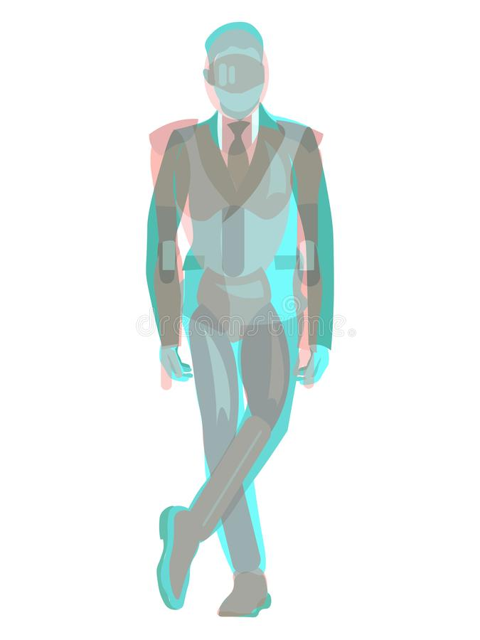 Anaglyph 3D male businessman and robot. In minimalist style Cartoon flat Vector. Illustration stock illustration
