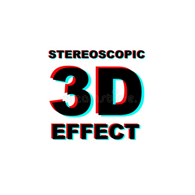 Anaglyph 3D text. On white background stock illustration