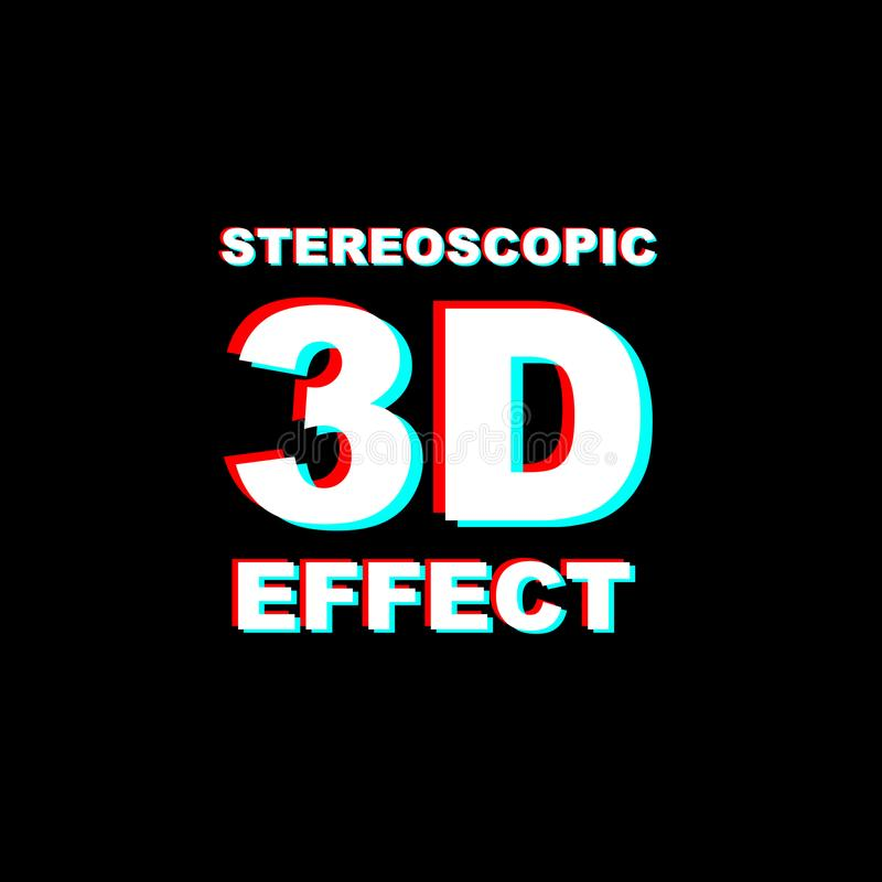 Anaglyph 3D text. On black background royalty free illustration