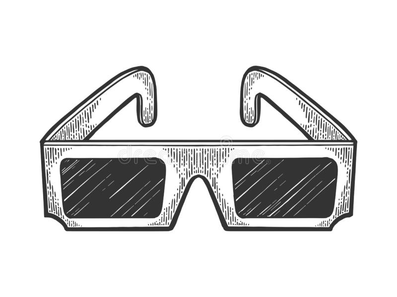 Anaglyph glasses sketch engraving vector. Anaglyph glasses for 3D movie sketch vintage engraving vector illustration. Scratch board style imitation. Black and vector illustration