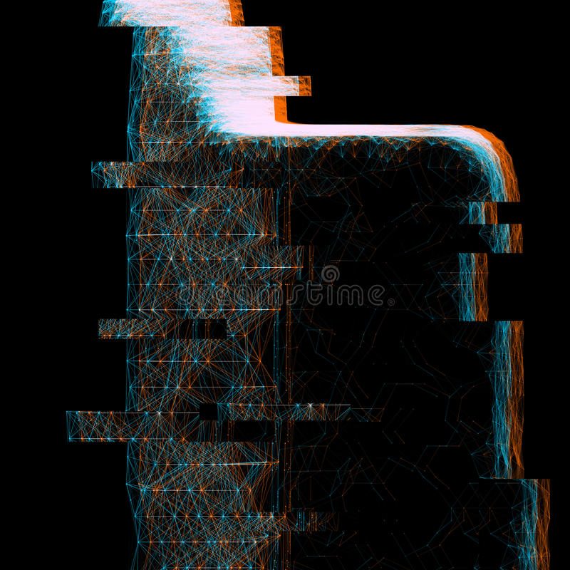 Anaglyph glitch effect hologram. Creative anaglyph glitch effect for images. illustration royalty free illustration