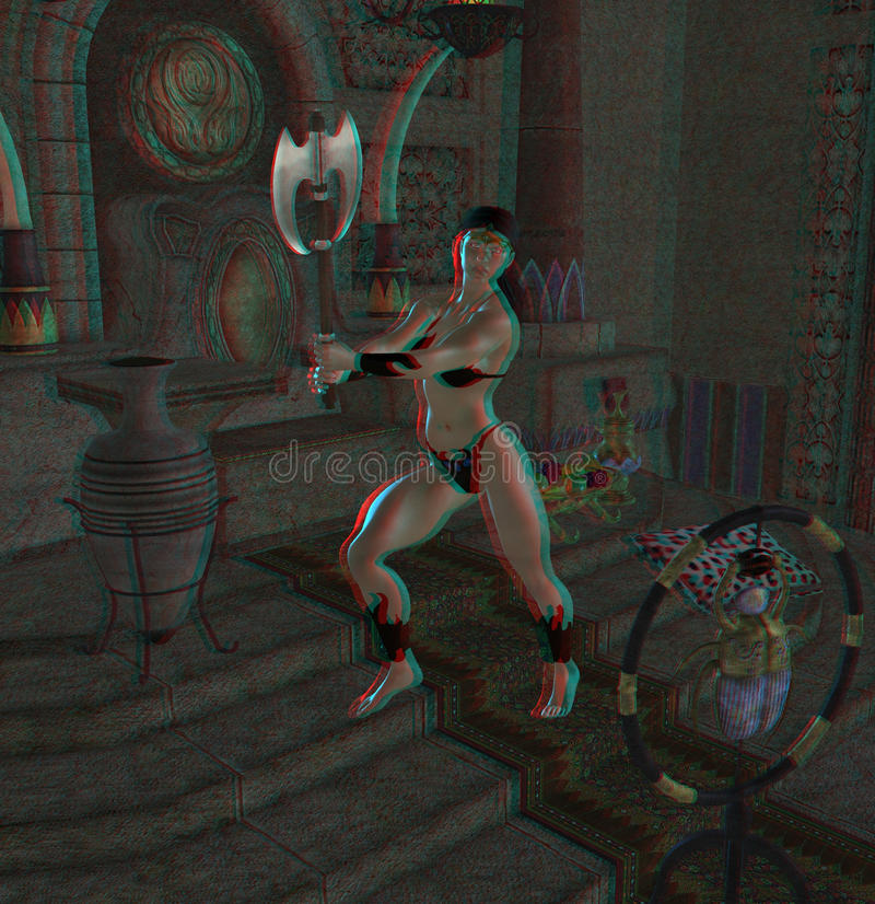 This is an anaglyph image / stereo rendering of a. Female barbarian warrior. The 3d effect however is only visible with red-cyan-specs (red/blue-googles royalty free illustration