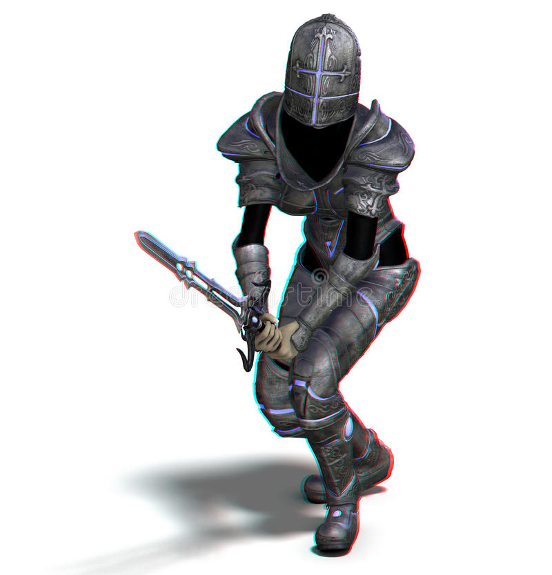 This is an anaglyph image / stereo rendering of a. Female knight with sword. The 3d effect however is only visible with red-cyan-specs (red/blue-googles royalty free illustration