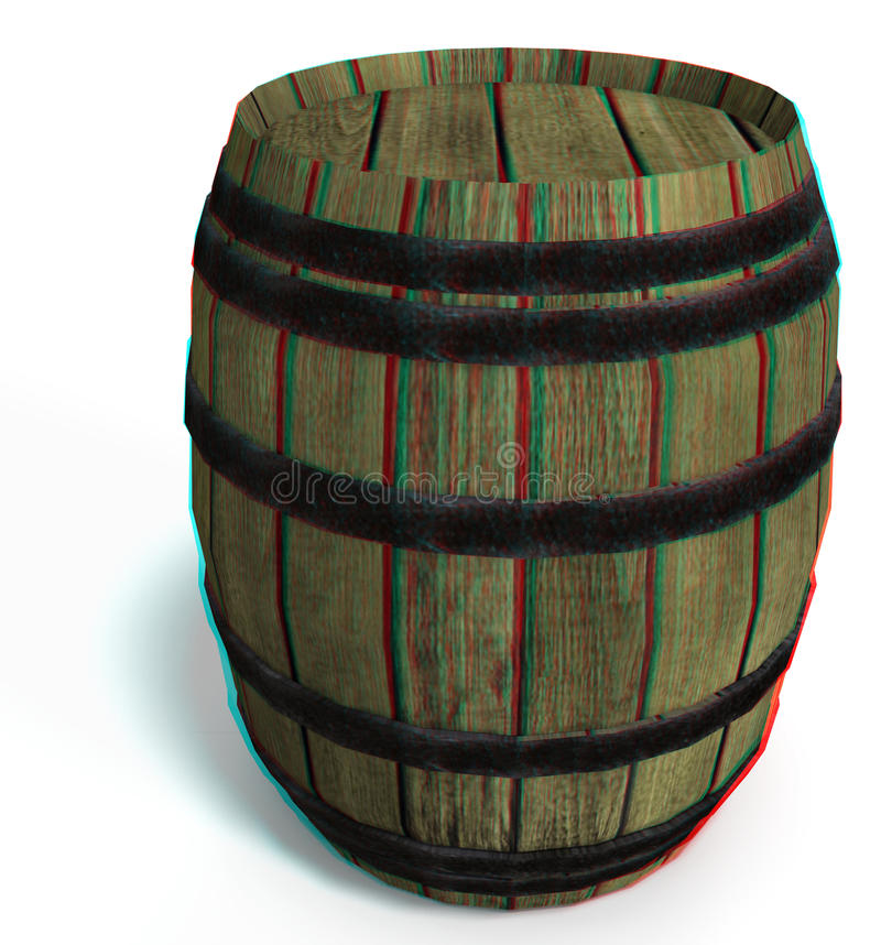 This is an anaglyph image / stereo rendering of a. Wooden barrel. The 3d effect however is only visible with red-cyan-specs (red/blue-googles vector illustration