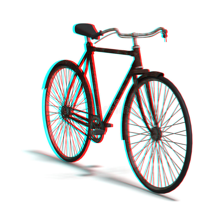 This is an anaglyph image / stereo rendering of. An old bike. The 3d effect however is only visible with red-cyan-specs (red/blue-googles stock illustration